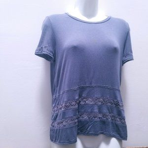 WILFRED Grey T-Shirt With Crochet Details Size S